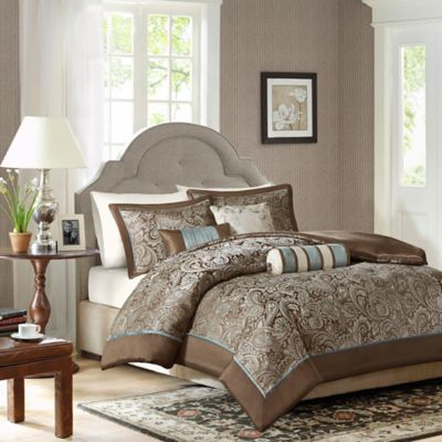 Madison Park Aubrey 6-Piece Full/Queen Duvet Cover Set in Blue