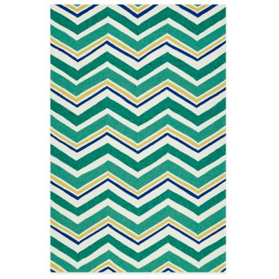 Kaleen Escape Chevron 5-Foot x 7-Foot 6-Inch Indoor/Outdoor Rug in Emerald