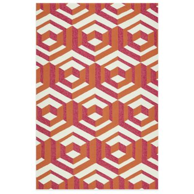 Kaleen Escape Geometric Boxes 5-Foot x 7-Foot 6-Inch Indoor/Outdoor Rug in Paprika