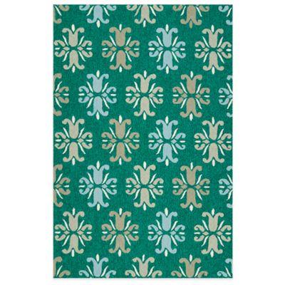 Kaleen Escape Floral 2-Foot x 3-Foot Indoor/Outdoor Accent Rug in Emerald