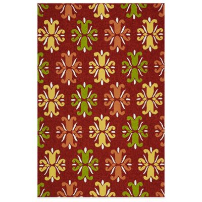 Kaleen Escape Floral 2-Foot x 3-Foot Indoor/Outdoor Accent Rug in Red