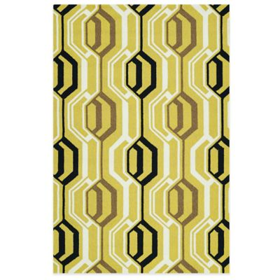 Kaleen Escape Mirrors 5-Foot x 7-Foot 6-Inch Indoor/Outdoor Rug in Gold