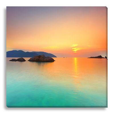 Sunrise Over The Ocean 16-Inch x 16-Inch Canvas Art