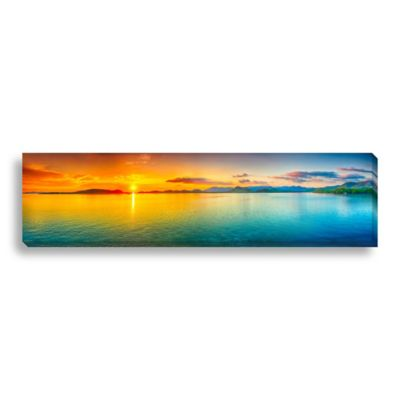 Ocean Sunset 24-Inch x 6-Inch Panorama Canvas Art