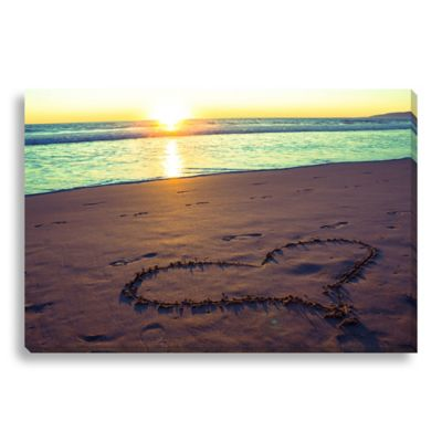 Heart on the Beach 24-Inch x 16-Inch Canvas Art