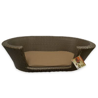 Rattan Oval Dog Bed in Brown