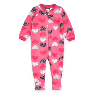 Petit Lem™ Size 12M Zebra Hearts Footed Pajama in Pink