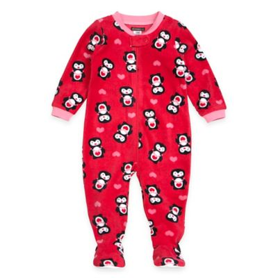Petit Lem™ Size 12M Penguin Hearts Footed Pajama in Hot Pink