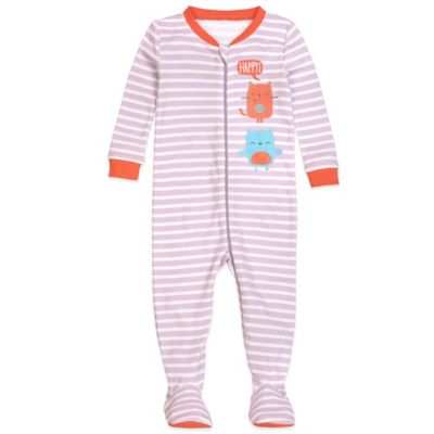 Petit Lem™ Size 12M Happy Cat Striped Footed Pajama in Purple
