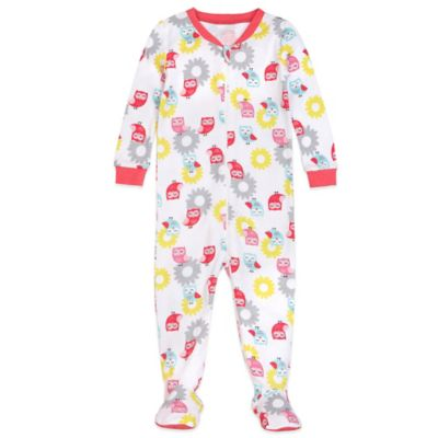 Petit Lem™ Size 12M Little Owl Footed Pajama in White