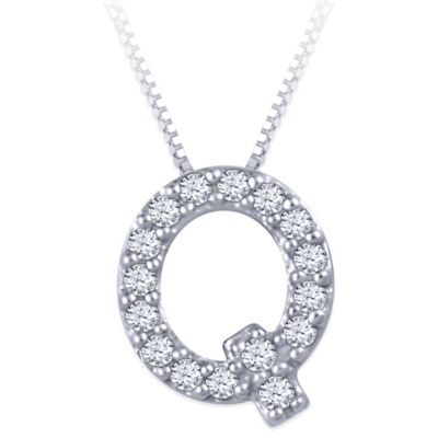 """Sterling Silver .04 cttw Diamond 18-Inch Chain Letter """"Q"""" Pendant Necklace"""