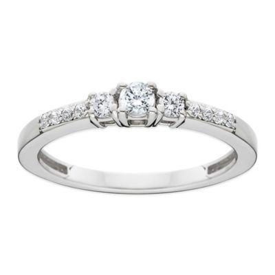 14K White Gold .25 cttw Diamond Size 4 Ladies' 3-Stone Wedding Ring