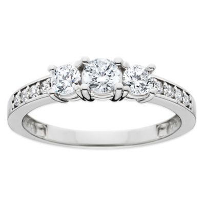 14K White Gold 1.0 cttw Diamond Size 4 Ladies' 3-Stone Wedding Ring