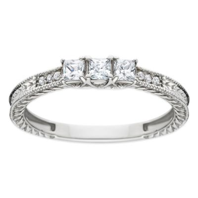 14K White Gold .25 cttw Princess-Cut Diamond Size 4 Ladies' 3-Stone Filigree Wedding Ring