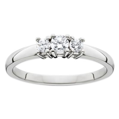 14K White Gold .25 cttw Diamond Size 9 Ladies' 3-Stone Wedding Ring