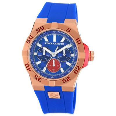 Vince Camuto® Master II 43mm Blue Dial Watch in Rose Goldtone Stainless Steel w Silicone Strap