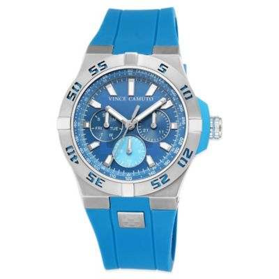 Vince Camuto® Master Men's 50mm Cobalt Dial Watch in Stainless Steel with Silicone Strap