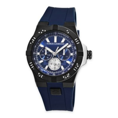 Vince Camuto® Master Men's 50mm Black Multifunction Watch in Stainless Steel with Silicone Band