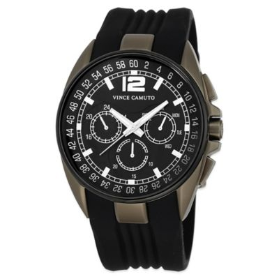 Vince Camuto® Traveler Men's 47mm Black Multifunction Watch in Stainless Steel w Silicone Strap