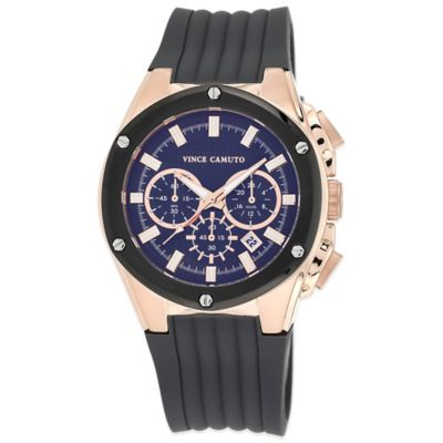 Vince Camuto® Dyver 45mm Chronograph Watch in Rose Goldtone Stainless Steel with Silicone Strap