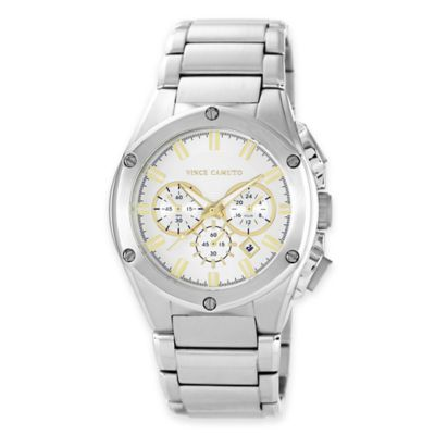 Vince Camuto® Dyver Men's 45mm Chronograph Goldtone Dial Watch in Stainless Steel
