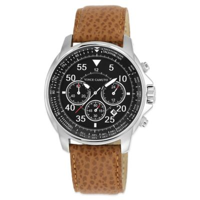 Vince Camuto® Men's 44mm Black Dial Chronograph Watch in Stainless Steel with Tan Leather Strap