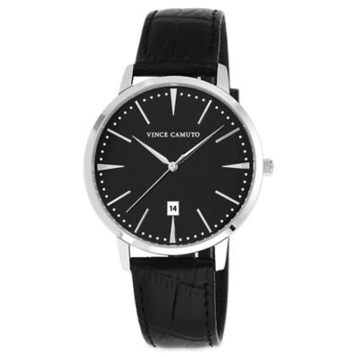 Vince Camuto® Men's 40mm Black Dial Watch in Stainless Steel with Black Leather Strap