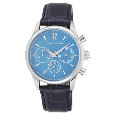 Vince Camuto® Chairman Men's 42mm Chronograph Watch in Stainless Steel with Blue Leather Strap