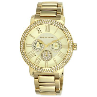 Vince Camuto® Ladies' 42mm Crystal-Accented Chronograph Watch in Goldtone Stainless Steel