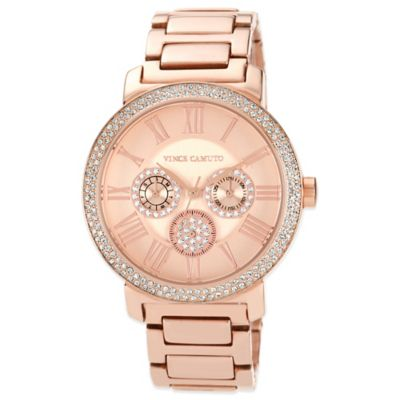 Vince Camuto® Ladies' 42mm Crystal-Accented Chronograph Watch in Rose Goldtone Stainless Steel