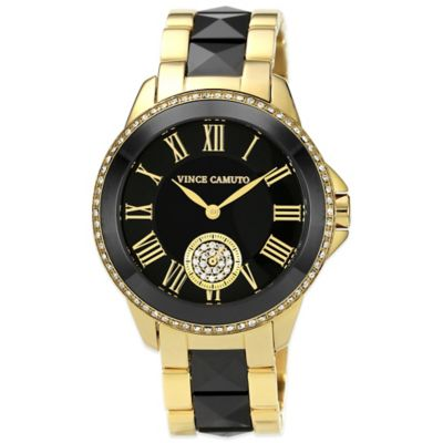 Vince Camuto® 38mm Swarovski Crystal-Accented Black Dial Watch in Goldtone and Black Ceramic