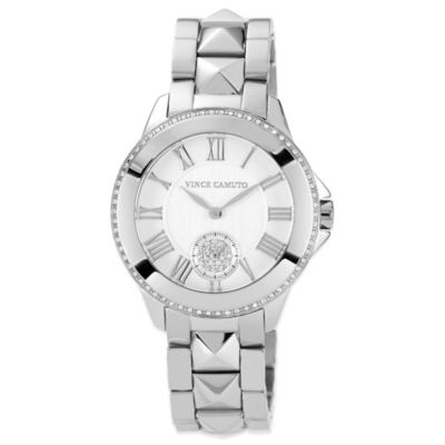 Vince Camuto® Ladies' 35mm Swarovski Accent Pyramid Detail Watch in Stainless Steel