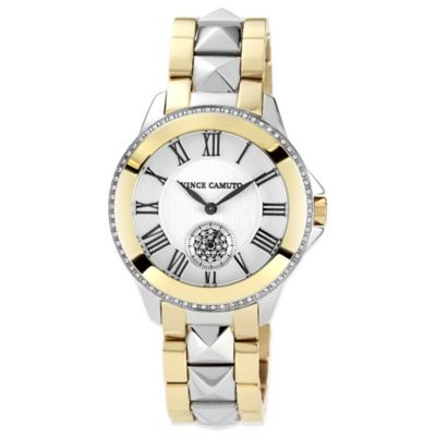 Vince Camuto® Ladies' 35mm Swarovski Accent Pyramid Detail Watch in Two-Tone Stainless Steel