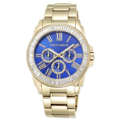 Vince Camuto® 42.5mm Swarovski Pave Crystal-Accented Blue Dial Watch in Goldtone Stainless Steel