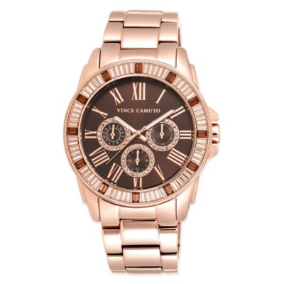 Vince Camuto® 43mm Swarovski Crystal-Accented Brown Dial Watch in Rose Goldtone Stainless Steel