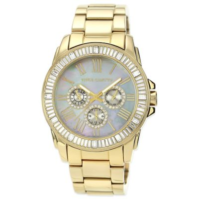 Vince Camuto® 42.5mm Swarovski-Accent Mother of Pearl Dial Watch in Goldtone Stainless Steel