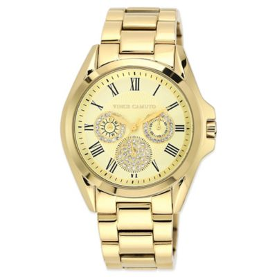 Vince Camuto® Ladies' 42mm Swarovski Accent Golden Watch in Goldtone Stainless Steel