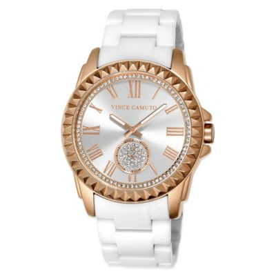 Vince Camuto® 50.5mm Swarovski Accent Rose Goldtone Pyramid Bezel Watch w White Ceramic Bracelet