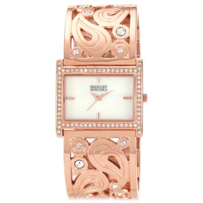 Badgley Mischka® Ladies' Crystal-Accented Rose Goldtone Scroll Bangle Watch