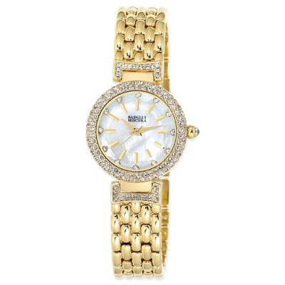 Badgley Mischka® 28mm Crystal-Accented Mother of Pearl Dial Goldtone Weave Bracelet Watch