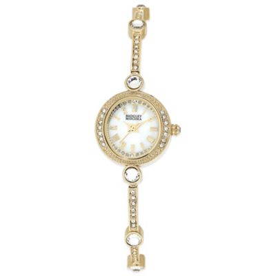 Badgley Mischka® Ladies' 20mm Crystal-Accented Mother of Pearl Goldtone Slim Bracelet Watch