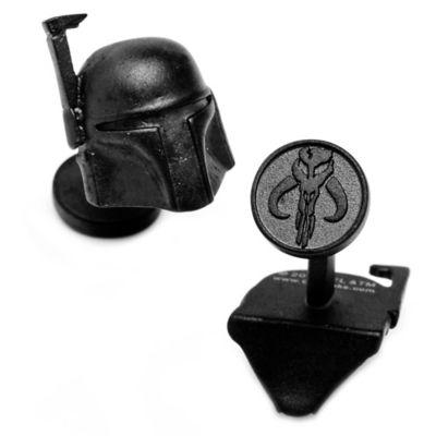 Star Wars™ Matte Black 3D Boba Fett Helmet Cufflinks