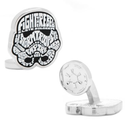 Star Wars™ Silver-Plated Storm Trooper Typography Cufflinks