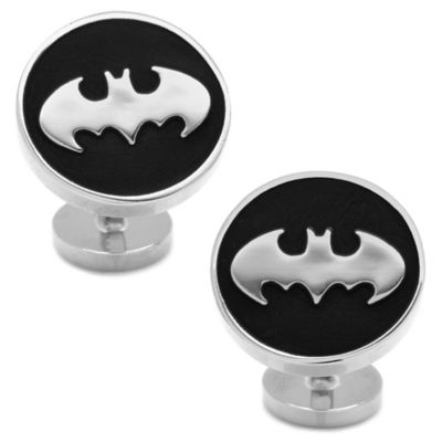 DC Comics™ Silver-Plated Recessed Black Batman Cufflinks