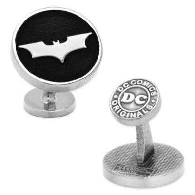 DC Comics™ Silver-Plated Recessed Black Batman Dark Knight Cufflinks