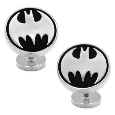 DC Comics™ Silver-Plated Recessed Black Vintage Batman Cufflinks