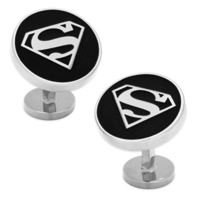 DC Comics™ Silver-Plated Recessed Black Superman Shield Cufflinks