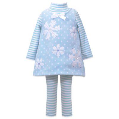 Bonnie Baby Size 6M 3-Piece Snowflake Fleece Jumper, Top, and Legging Set in Aqua/White