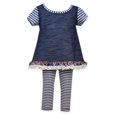 Gerson Size 0-3M 2-Piece Ruffle Trim Chambray Top and Stripe Legging Set in Navy/White