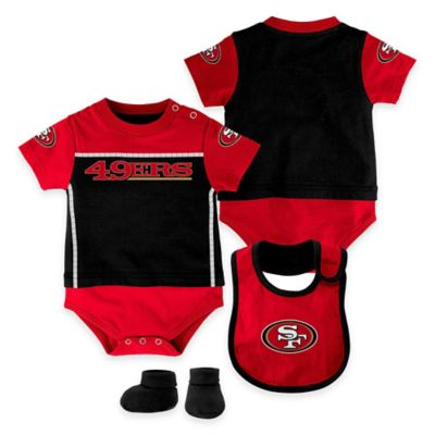 NFL San Francisco 49ers Lil Jersey Size18M 3-Piece Creeper, Bib, and Bootie Set